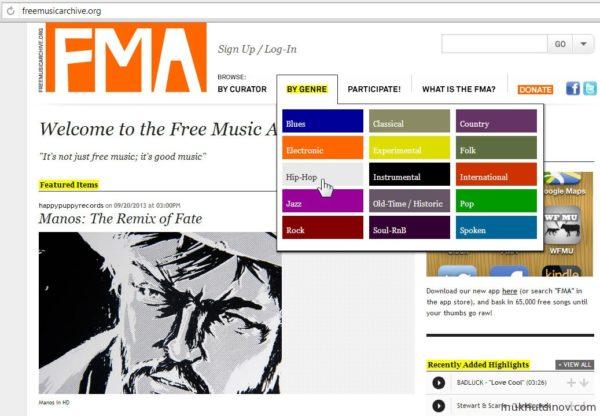 Сайт с бесплатной музыкой freemusicarchive.org