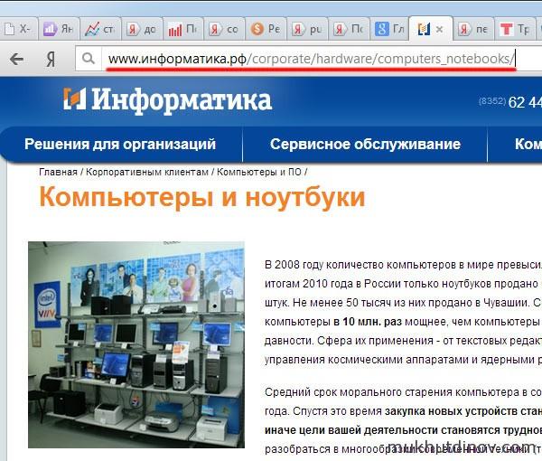Сочетание кириллицы и латинице в адресной строке браузера