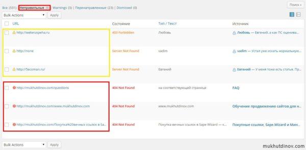 Плагин Broken Link Checker: Битые исходящие ссылки помечаются жёлтыми значками, битые внутренние ссылки - красными