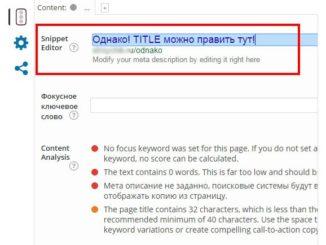 В новой версии Yoast SEO, title редактируется при помощи редактора сниппета